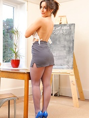Bubbly Emily teasing in the classroom in her pantyhose (Non Nude)