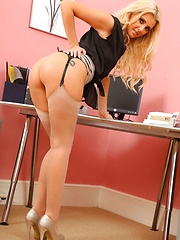 Blonde Becki wear suspenders to the office