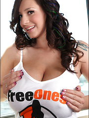 Hi guys! A little outdoor biking and a cool new photo set with my big boobies out that I shot by request for my good pals over at FreeOnes in one of their very sexy logo t-shirts! It's like it was made just for me! xoxoxo -- September